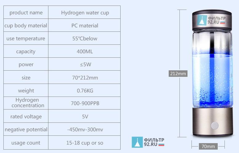 FASHION Генератор водородной воды бутылочка параметры