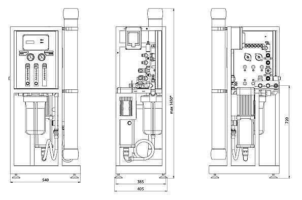 Габаритные размеры систем обратного осмоса ECOSOFT MO 6500 и MO 12000
